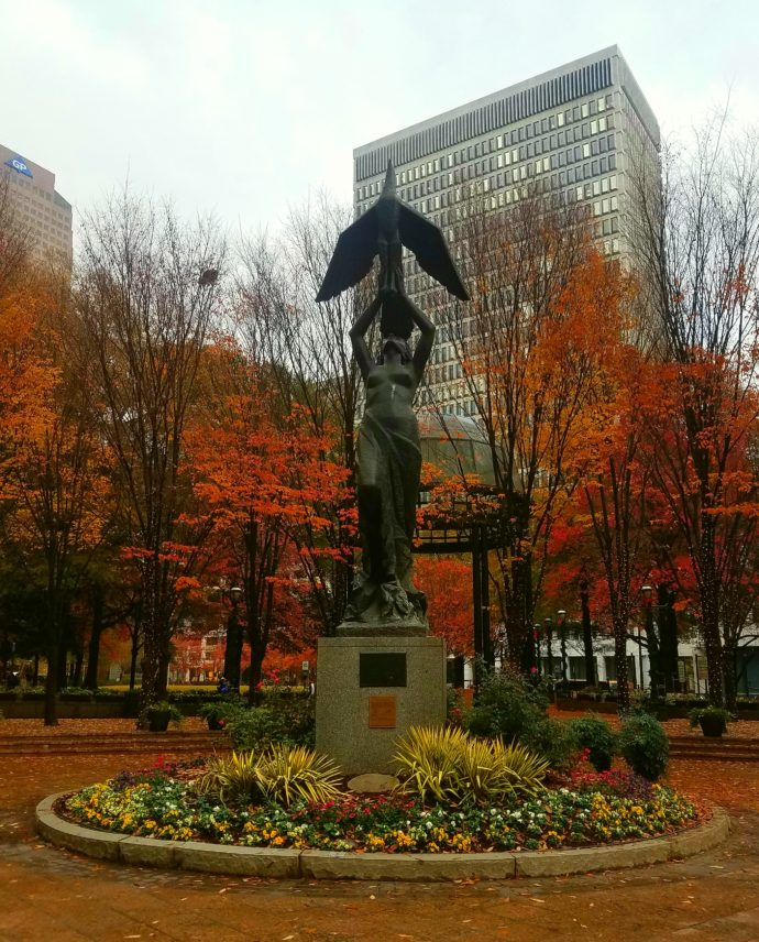 Woodruff Park, downtown Atlanta, in the rain in the fall